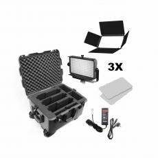 Kinotehnik Practilite 802 DMX LED Panel (Black) Triple Kit